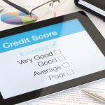 Credit score on a digital tablet